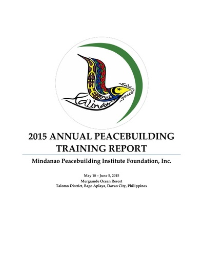 MPI 2015 Annual Peacebuilding Training Report