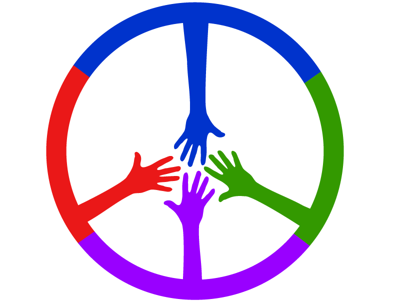 MPI 2019 Logo 4 colored hands reaching to form a peace sign
