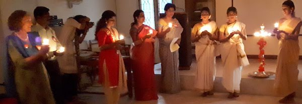 Reunion participants with candles