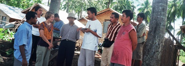 Participants outside during field-based course in 2003