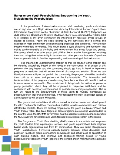 Bangsamoro Youth Peacebuilding: Empowering the Youth, Multiplying the Peacebuilders