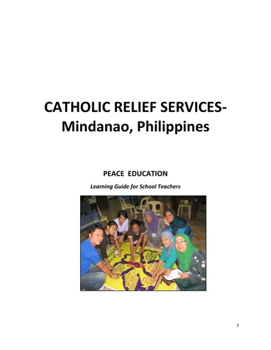 CRS Mindanao: Peace Education Learning Guide for School Teachers