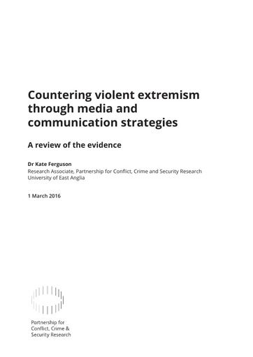 Countering Violent Extremism Through Media and Communication Strategies