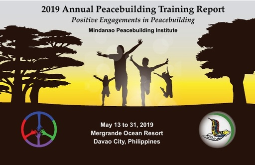 MPI's 2019 Annual Peacebuilding Training Report cover, children running between trees
