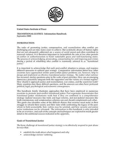 Transitional Justice: Information Handbook