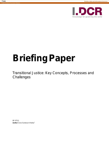 Transitional Justice: Key Concepts Processes and Challenges
