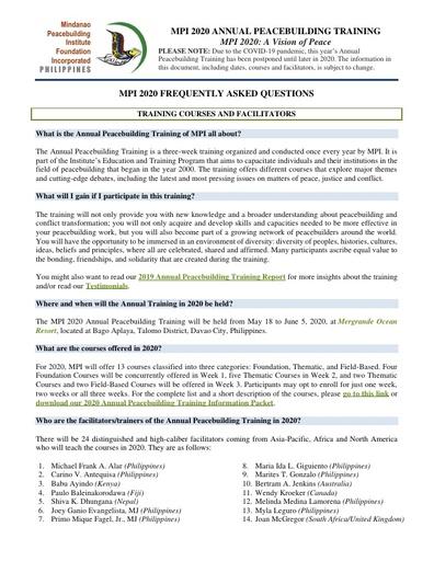 MPI 2020 FAQs