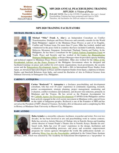 MPI 2020 Annual Peacebuilding Training Facilitators Profiles